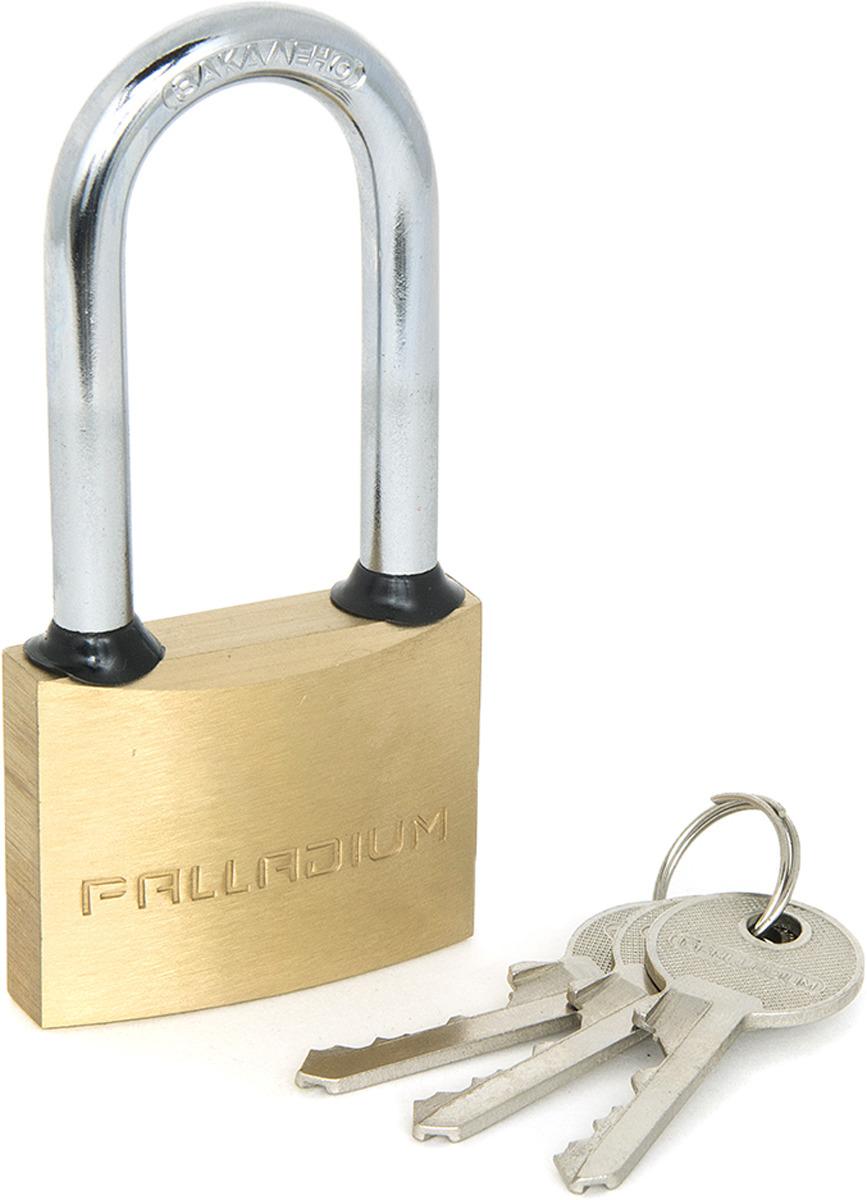 Замок навесной Palladium, цвет: желтый. 0000925200009252Замок навесной Palladium серии 301B L (высокая дужка). Корпус замка выполнен из латуни, закаленная стальная дужка, автоматическое запирание. В комплекте поставки: замок навесной, 3 английских ключа.Материал корпуса: латуньМатериал ключа: стальТип ключа: английскийШирина корпуса: 50 ммВысота корпуса: 39 ммПроем дужки высота: 56 ммДиаметр дужки: 8 ммУпаковка: блистер