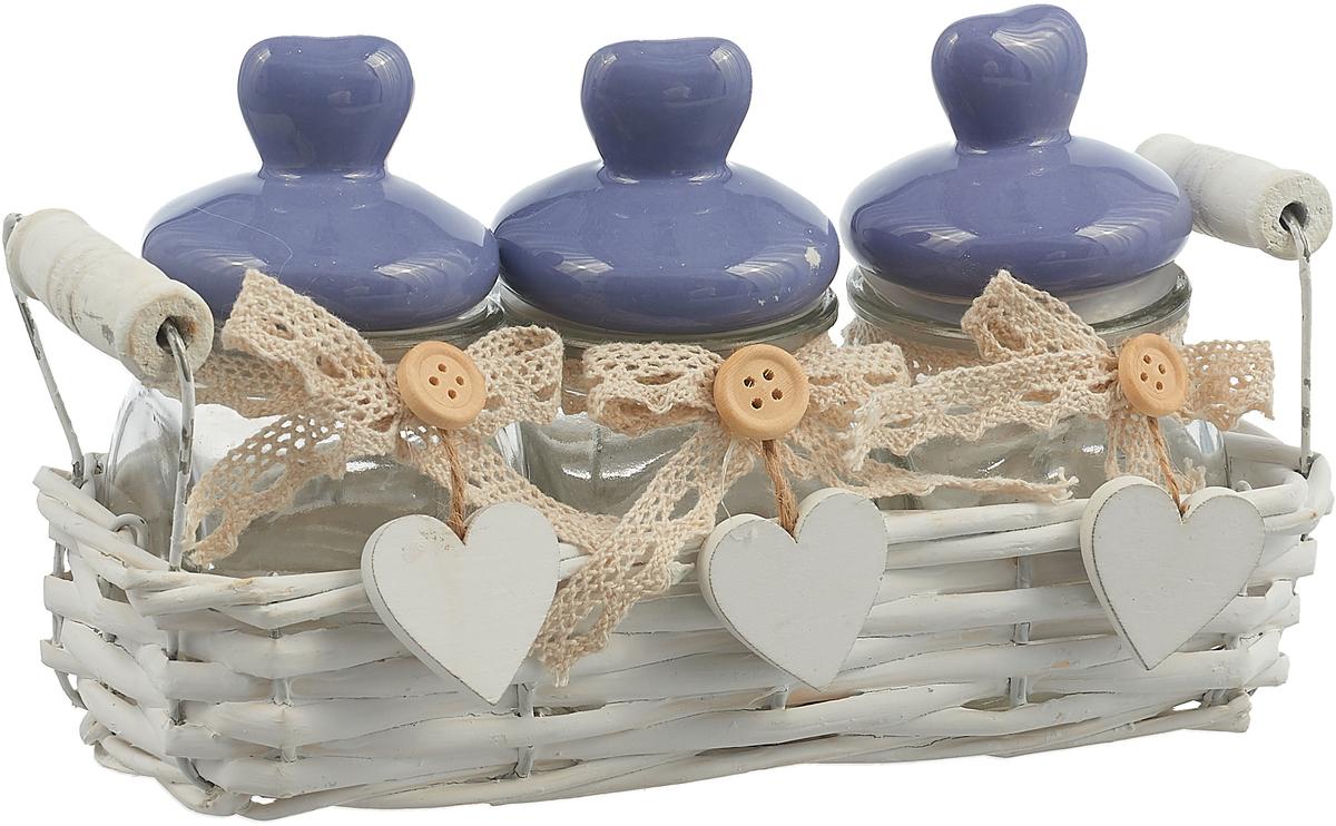 Набор емкостей в корзине Miralight Прованс, LB16-10, сиреневый, 0,1 л, 3 шт цена