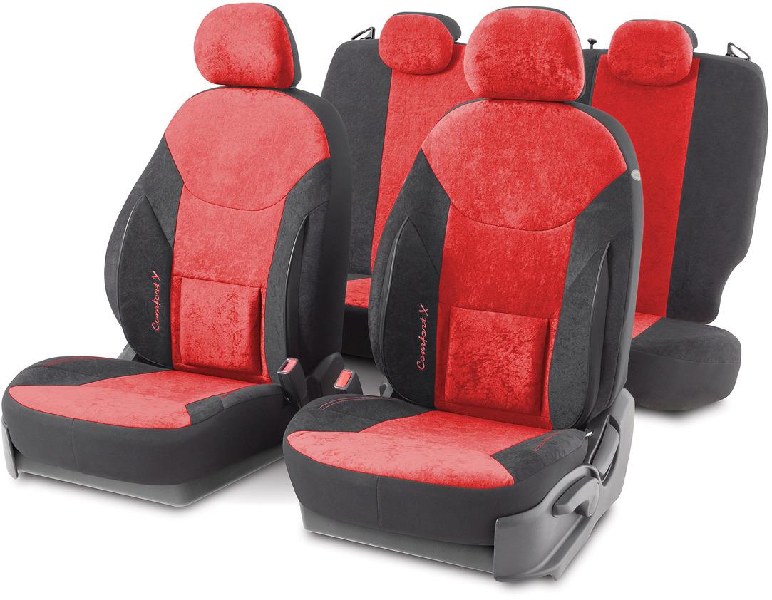 Авточехлы Autoprofi Comfort X, цвет: черный, красный, 15 предметов. COM-1505VF BK/RD
