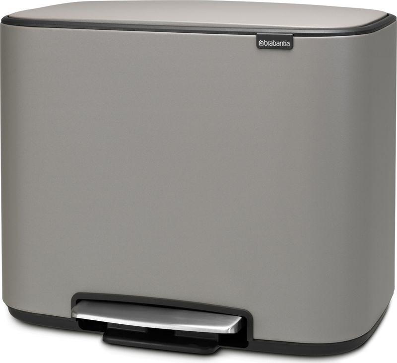 Бак мусорный Brabantia Bo Pedal Bin, с эффектом минерального напыления, с педалью, цвет: серый, 36 л. 121647 бак мусорный brabantia с педалью цвет серый металлик 12 л 214660