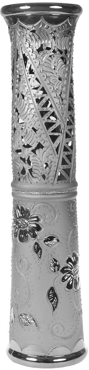 """Ваза напольная Керамика ручной работы """"Весна"""", цвет: серый, резка"""