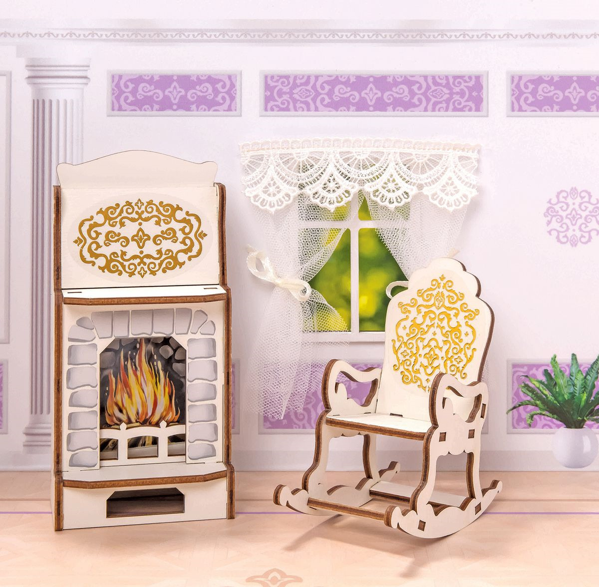 """Мебель для кукол ЯиГрушка """"Камин и кресло-качалка"""", 59790"""