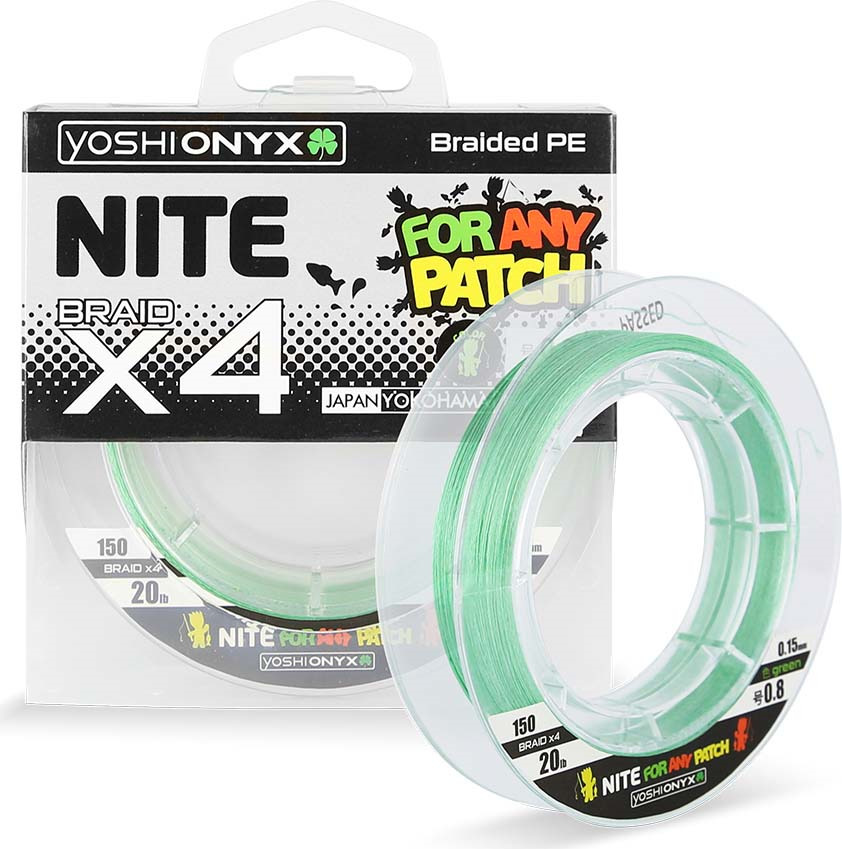 Леска плетеная Yoshi Onyx Nite 4 № 0,8, цвет: зеленый, длина 135 м
