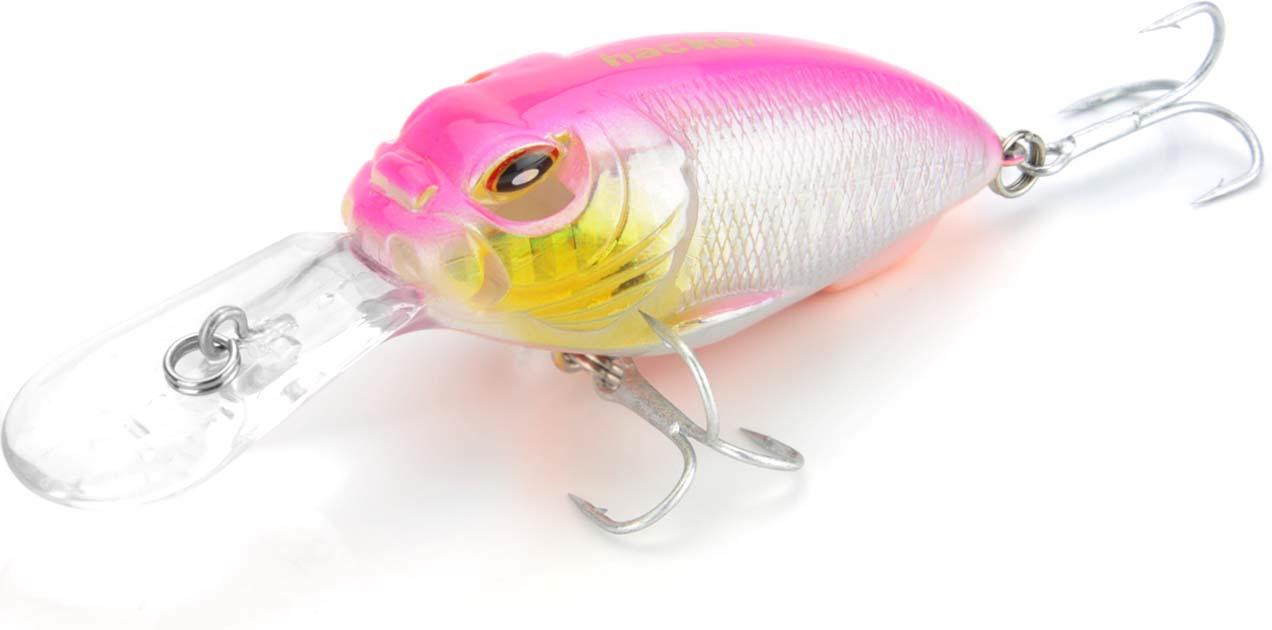 Воблер Hacker Mad Crank Deep 55FL, цвет: розовый металлик, длина 55 мм