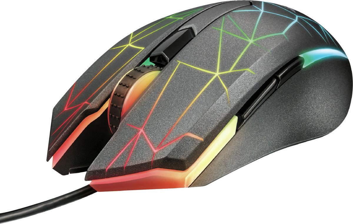 лучшая цена Игровая мышь Trust GXT 170 Heron, проводная, цвет: черный, серый