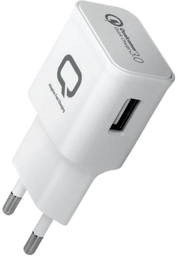 Сетевое зарядное устройство Qumo QC 3.0, цвет: белый