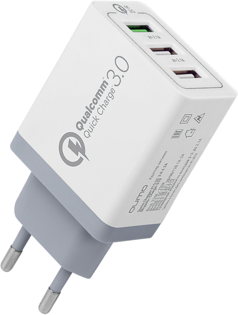 Сетевое зарядное устройство Qumo Quick Charge 3.0, цвет: белый цена и фото
