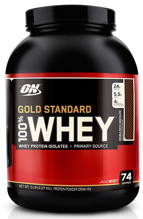 Протеин Optimum Nutrition 100% Whey Gold Standard Double Rich Chocolate, двойной богатый шоколад, 2,27 кг748927028669100% Whey Gold Standard содержит в себе первоклассные оптимальные пищевые добавки, составляющие протеиновую смесь:Микрофильтрованный изолят сывороточного белка.Ионно-обменный изолят сывороточного белка.Ультрафильтрованный концентрат сывороточного белка.Пептиды молочной сыворотки.100% Whey Gold Standard это чистый, настоящий сывороточный белок, с минимальным содержанием жиров, насыщенных жиров, холестерина, лактозы и других углеводов. 100% Whey Gold Standard содержит изолят сывороточного белка – это самый чистый и самый дорогой источник сывороточного белка.Каждая порция содержит 24 г белка, концентрация чистого белка в продукте составляет 82%.100% Whey Gold Standard содержит низко молекулярные пептиды сыворотки, благодаря которым протеин стал более быстродействующим.100% Whey Gold Standard содержит лактозу и аминоген – ферменты, улучшающие переваривание пищи, чтобы увеличить усваиваемость белка и максимально снизить негативные реакции организма на лактозу, которую некоторые люди не переносят.100% Whey Gold Standard подвергнут специальной обработке для легкого приготовления и размешивания. Каждая порция содержит еще больше биологически активных микрофракций сывороточного белка, включая альфа-лактальбумин, гликомакропептиды, бета-лактоглобулин, г-иммуноглобулина (lgG), лактоферрин, лактопероксидазу, и различные факторы роста.Более чем 4 грамма глютамина и больше чем 5 граммов разветвленных аминокислот BCAA (лейцин, изолейцин, валин) в каждой порции!L-триптофан, L-валин, L-треони... Рекомендуем!