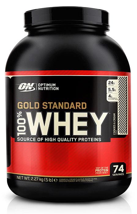 Протеин Optimum Nutrition 100% Whey Gold Standard Cookies & Cream, кремовое печенье, 2,27 кг multi whey