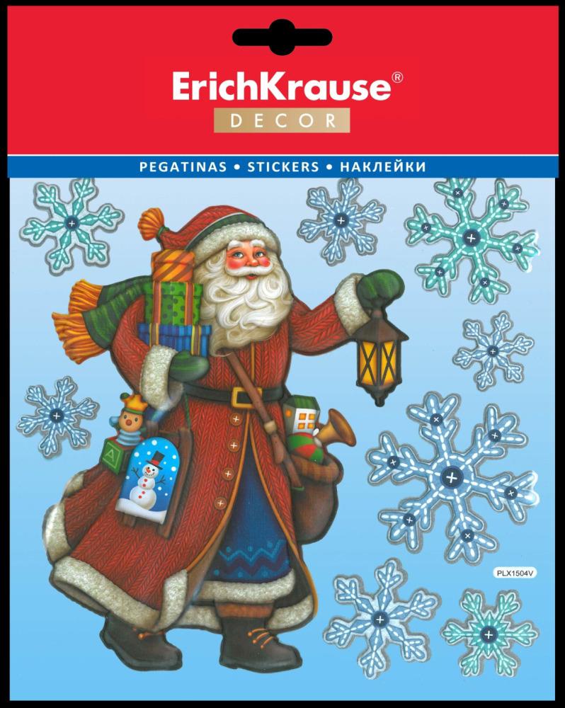 "Набор наклеек Erich Krause ""Decor Дедушка Мороз"", 9 шт"