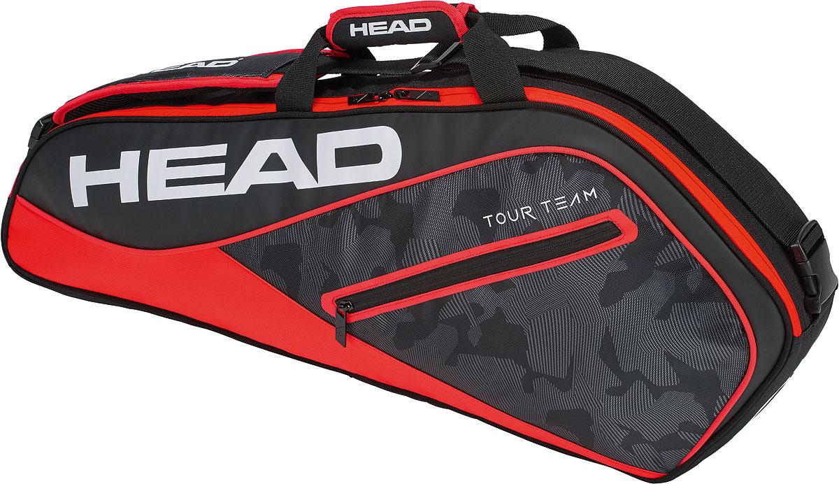 Сумка теннисная Head Tour Team 3R Pro, на 3 ракетки, цвет: черный, красный сумка для ракетки kawasaki kbb 8629 2014 kbb8629
