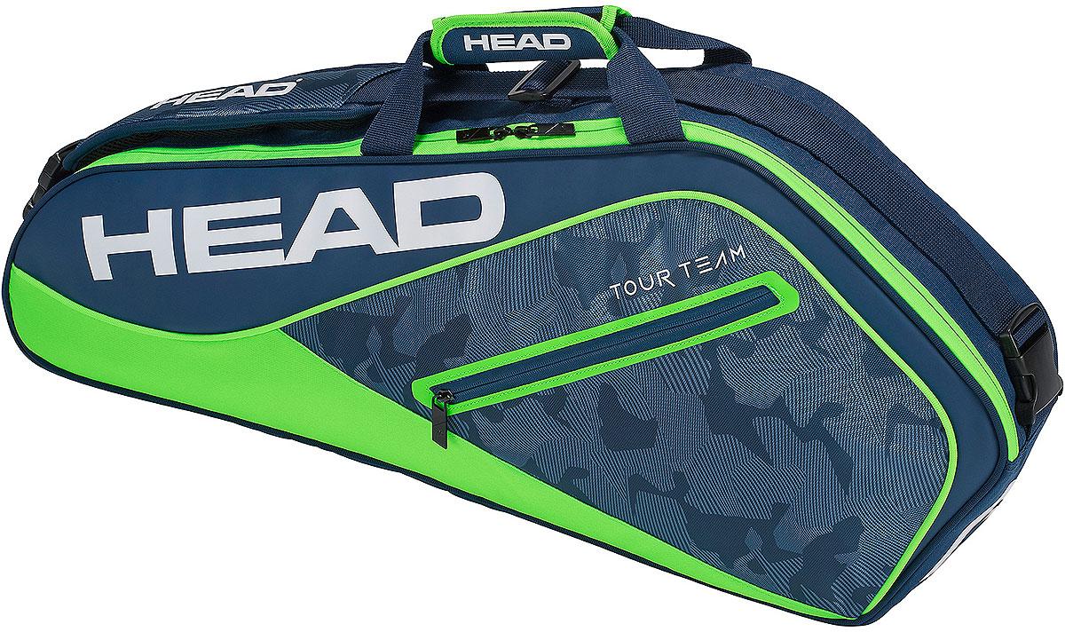 Сумка теннисная Head Tour Team 3R Pro, на 3 ракетки, цвет: синий, зеленый сумка для ракетки kawasaki kbb 8629 2014 kbb8629