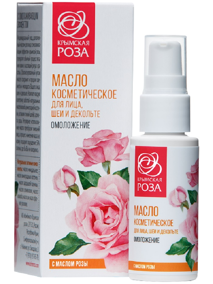 Крем для ухода за кожей Крымская роза Масло косметическое для лица, шеи и декольте Омоложение, 30 мл