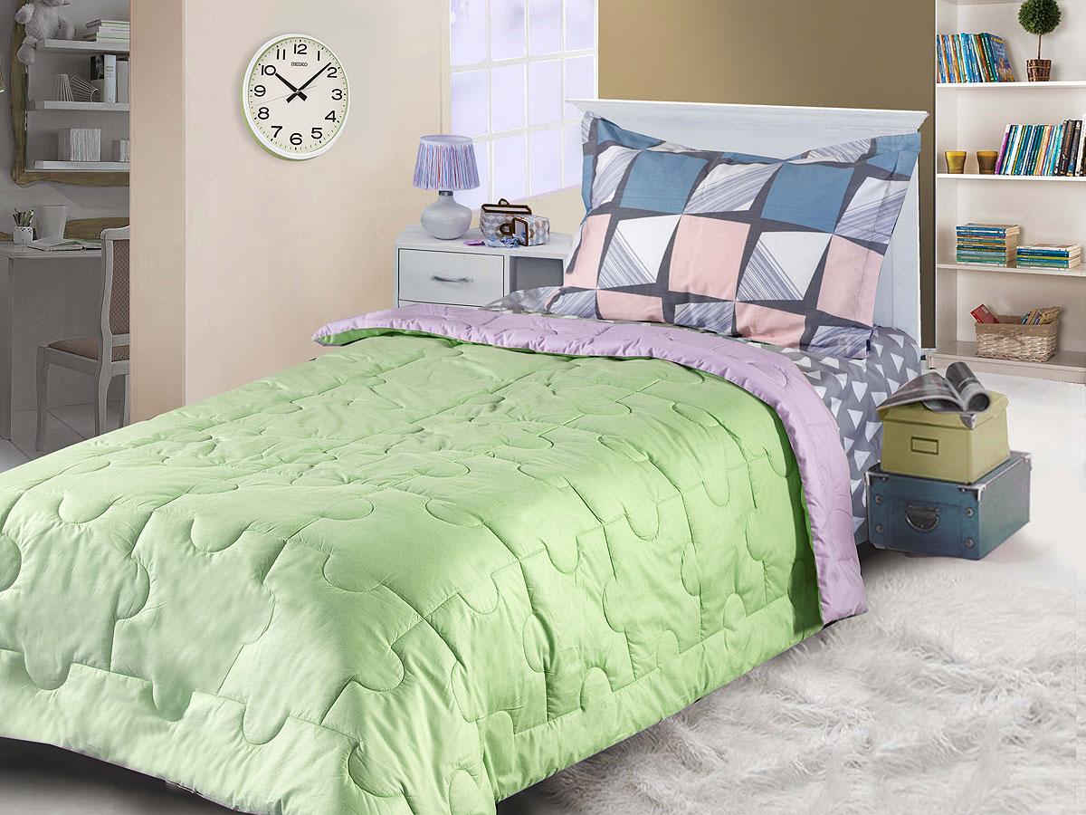 "Одеяло Primavelle покрывало Primavelle ""Ummi. Пазл"" 140 х 200 см, светло-зеленый, сиреневый"