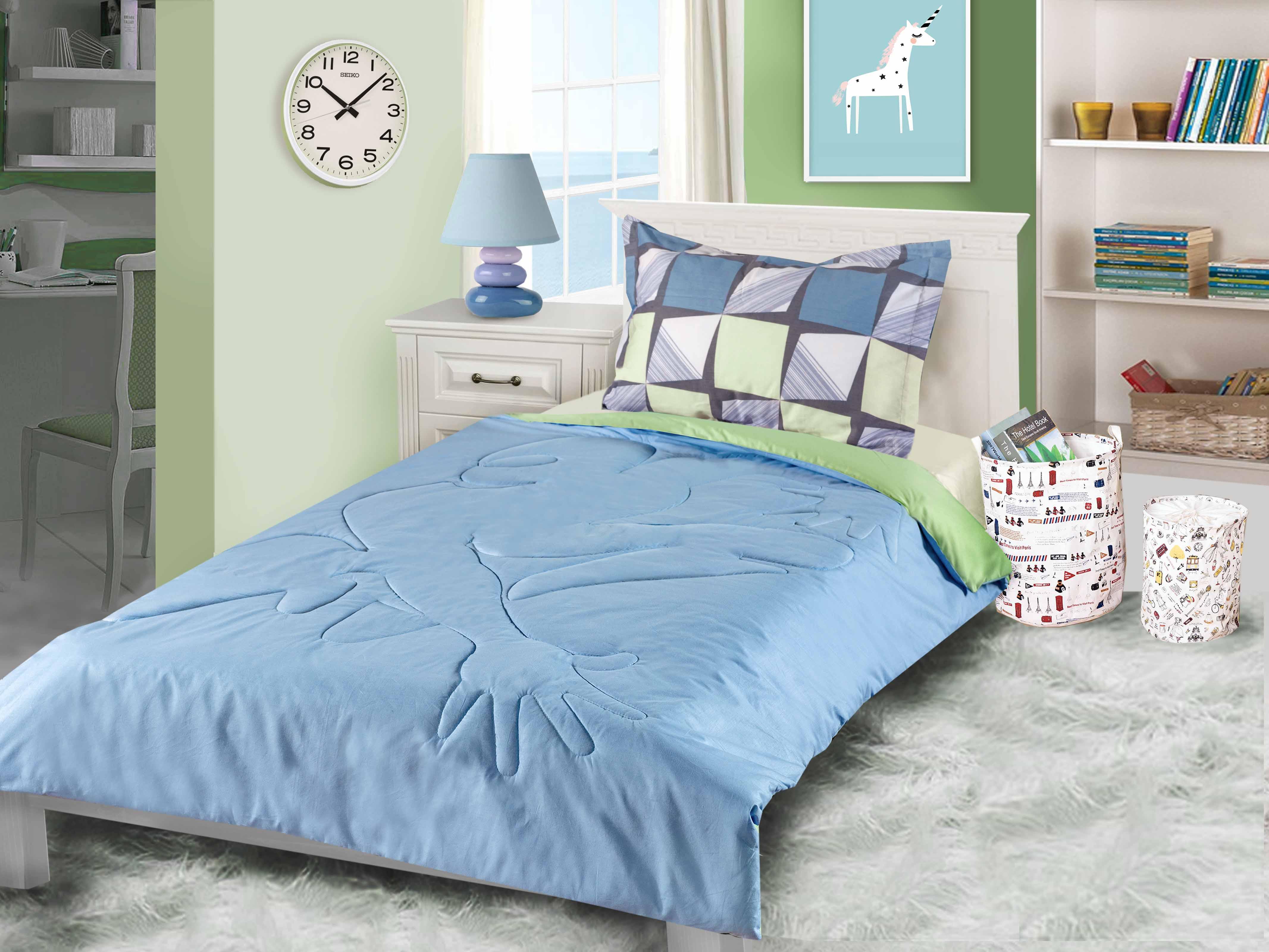 """Одеяло детское Primavelle покрывало """"Ummi. Супер-герой"""" 110 х 140 см, голубой, светло-зеленый"""