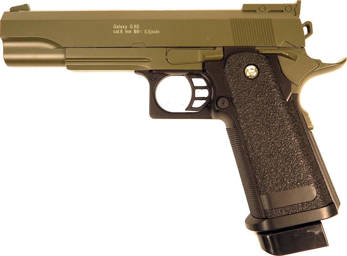 Пистолет софтэйр Galaxy G.6G, пружинный, цвет: зеленый, 6 мм цена и фото