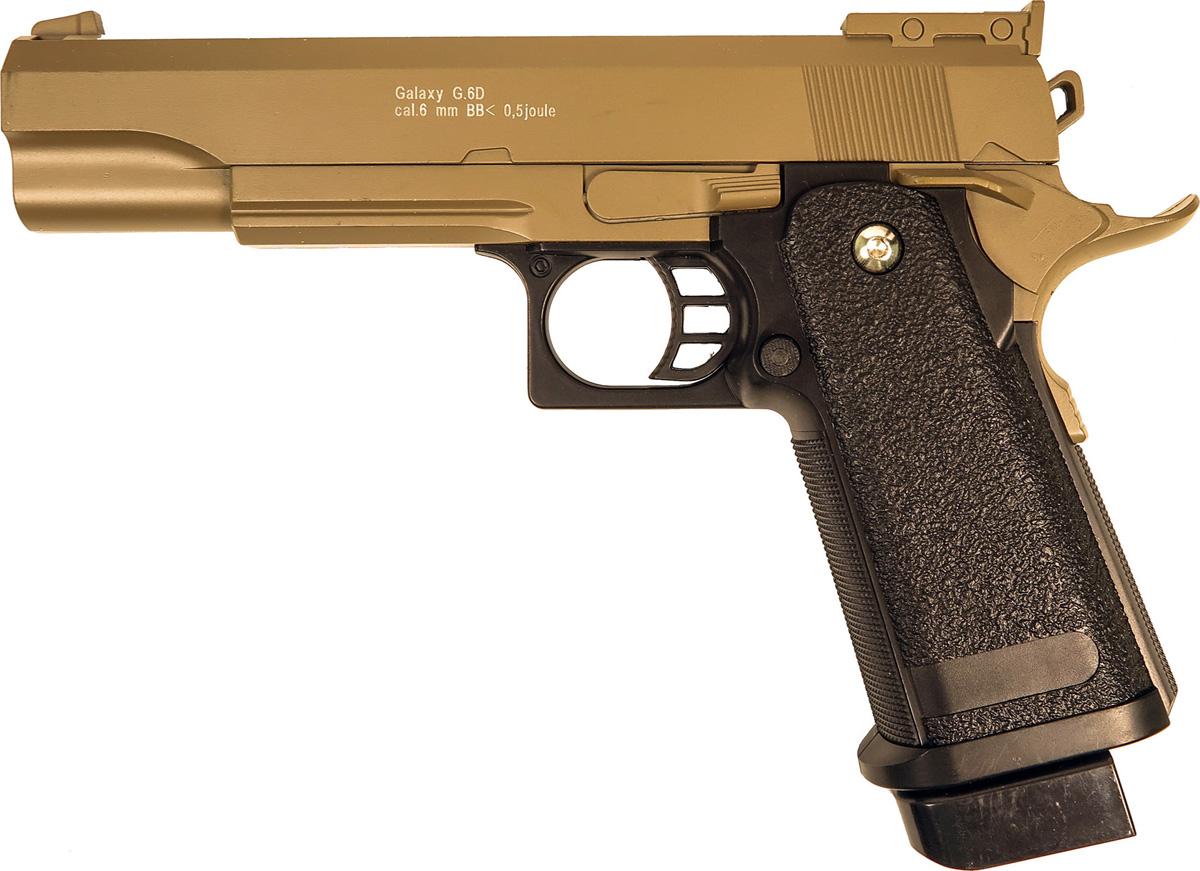Пистолет софтэйр Galaxy G.6D, пружинный, цвет: светло-коричневый, 6 мм цена и фото