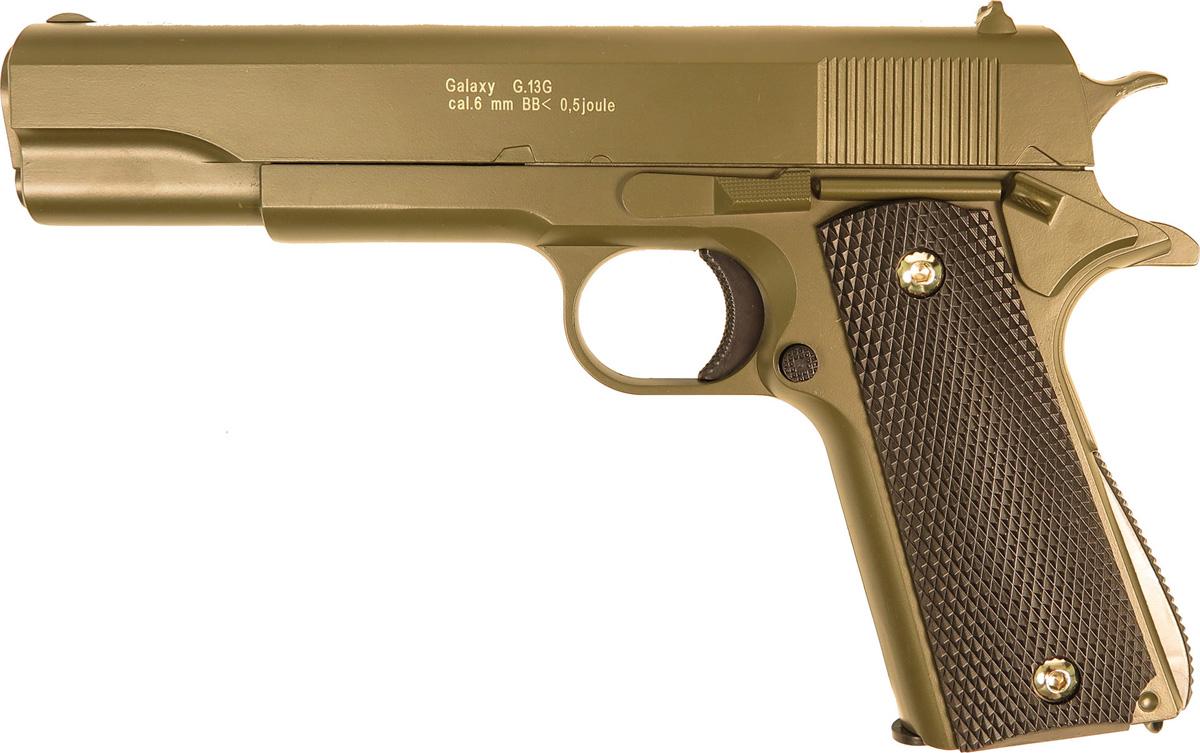 Пистолет софтэйр Galaxy G.13G, цвет: зеленый, пружинный, 6 мм