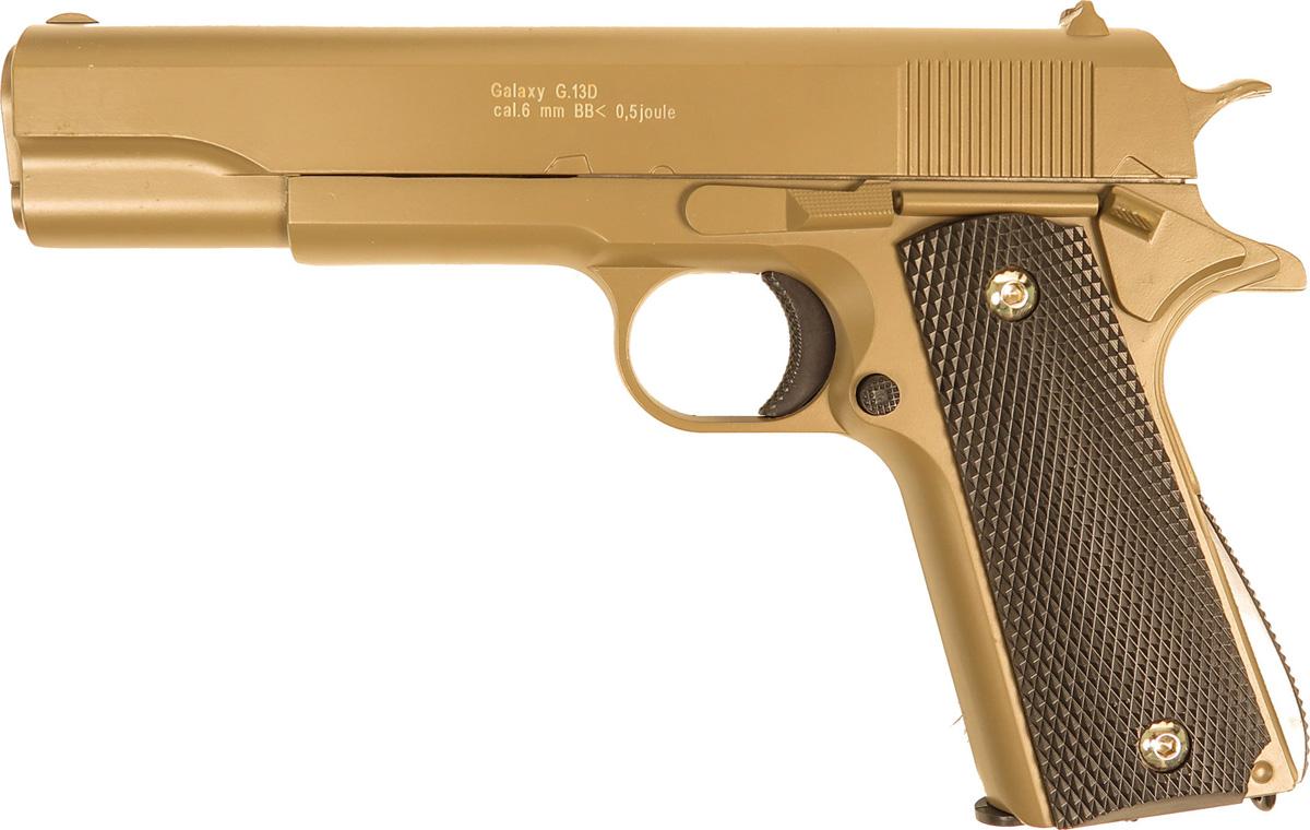 Пистолет софтэйр Galaxy G.13D, цвет: светло-коричневый, пружинный, 6 мм