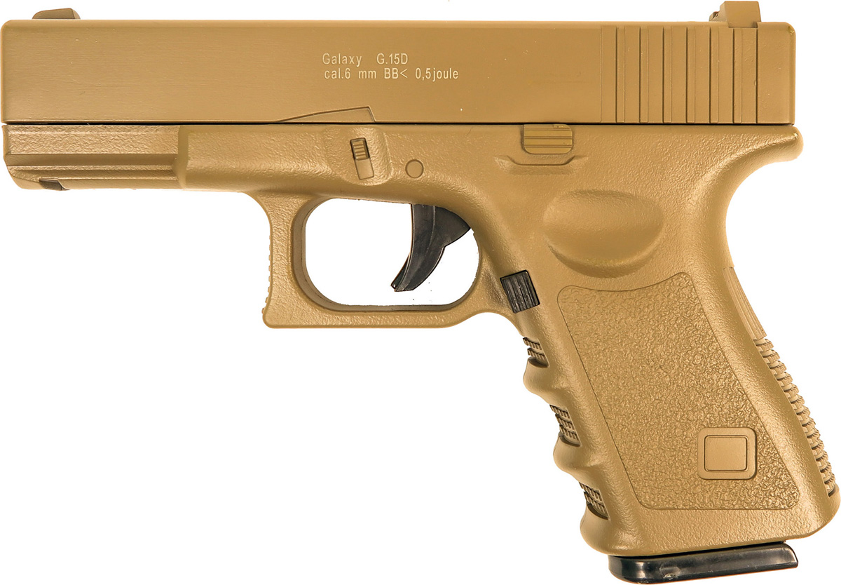 Пистолет софтэйр Galaxy G.15D, цвет: светло-коричневый, пружинный, 6 мм цена и фото