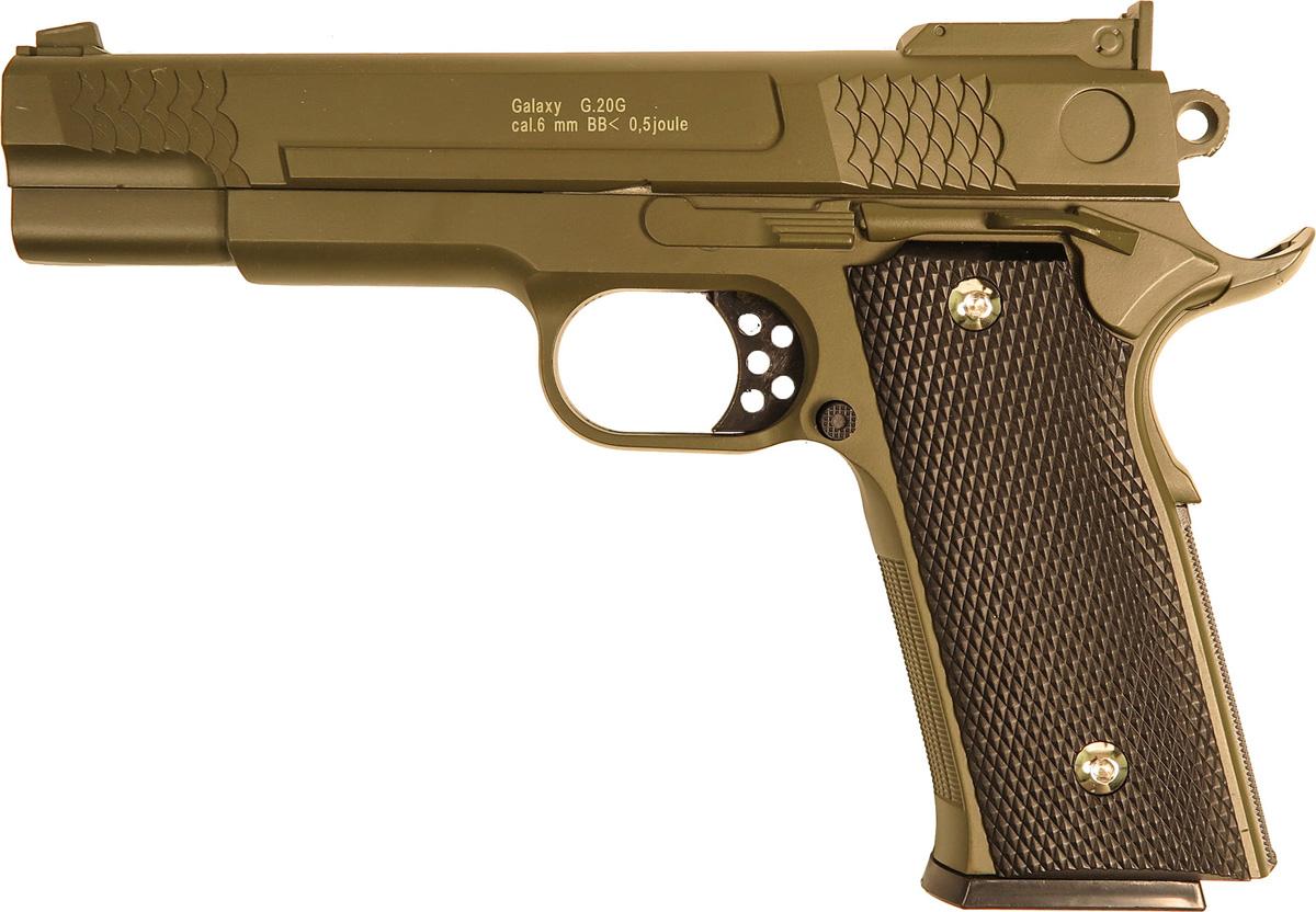 Пистолет софтэйр Galaxy G.20G, цвет: зеленый, пружинный, 6 мм цена и фото