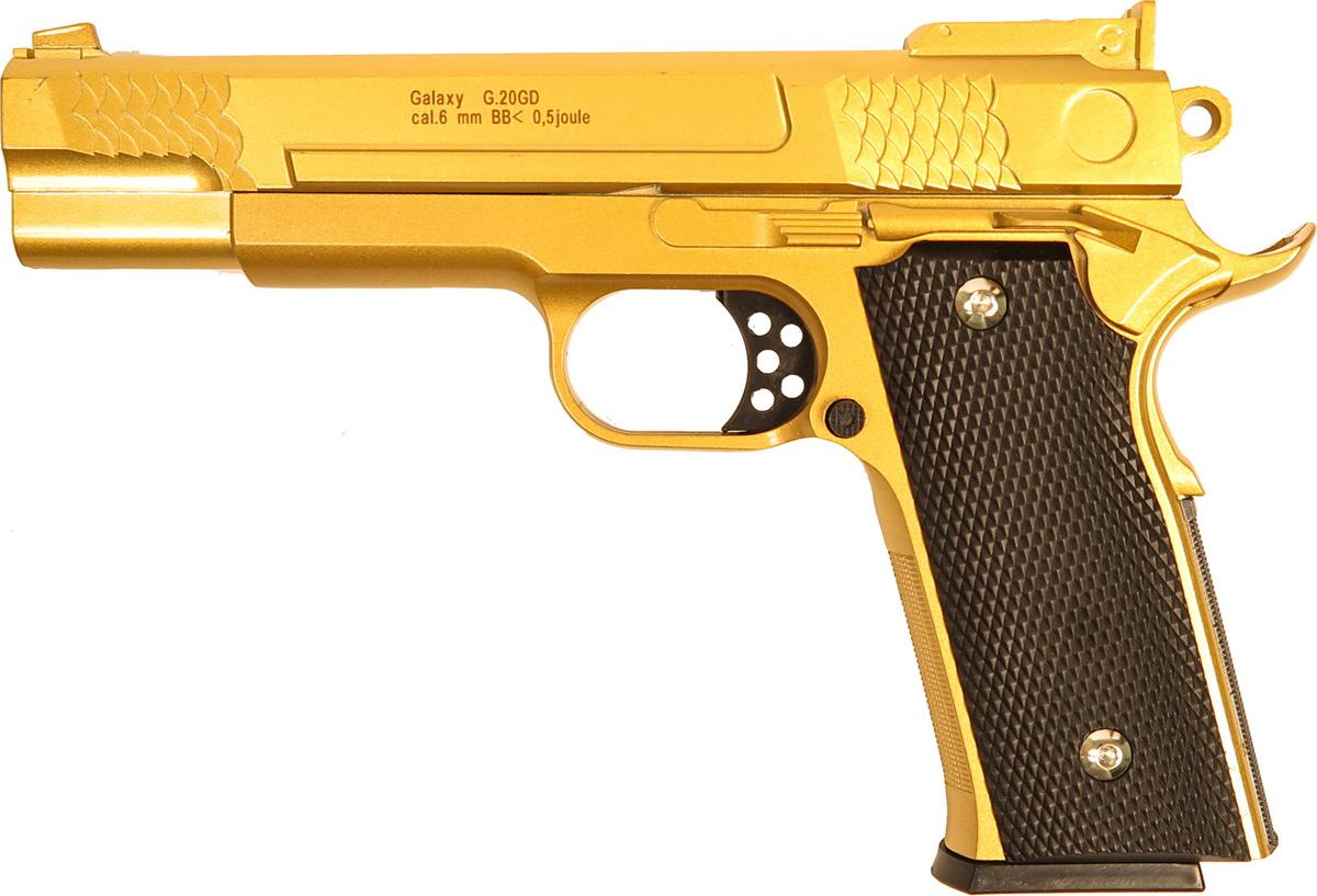 Пистолет софтэйр Galaxy G.20GD, цвет: золотистый, пружинный, 6 мм цена и фото