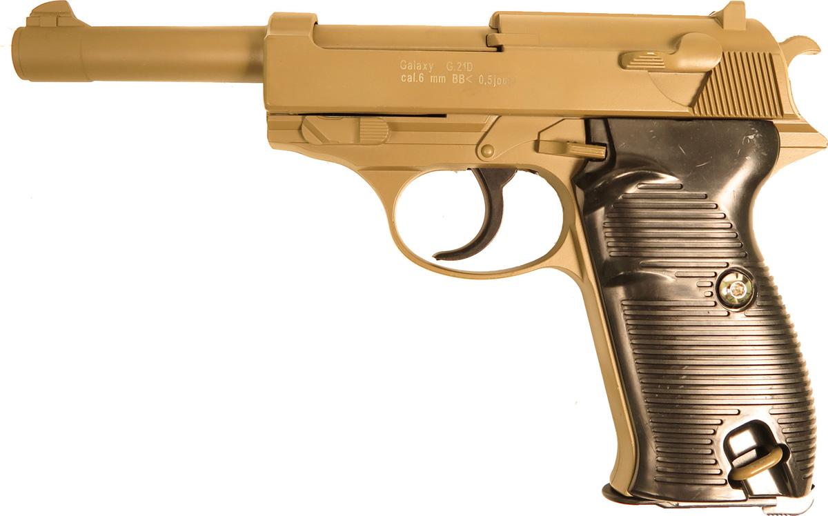 Пистолет софтэйр Galaxy G.21D, цвет: светло-коричневый, пружинный, 6 мм цена и фото