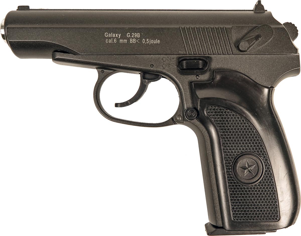 Пистолет софтэйр Galaxy G.29B, пружинный, цвет: черный, 6 мм цена и фото