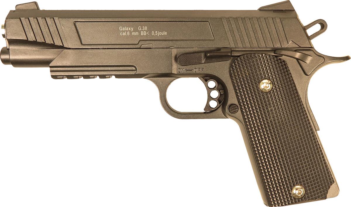Пистолет софтэйр Galaxy G.38, пружинный, цвет: черный, 6 мм цена и фото