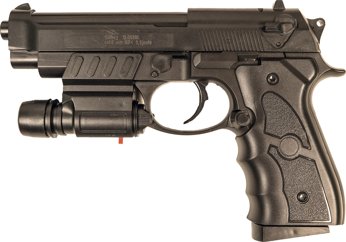 Пистолет софтэйр Galaxy G.052BL, пружинный, цвет: черный, 6 мм цена и фото