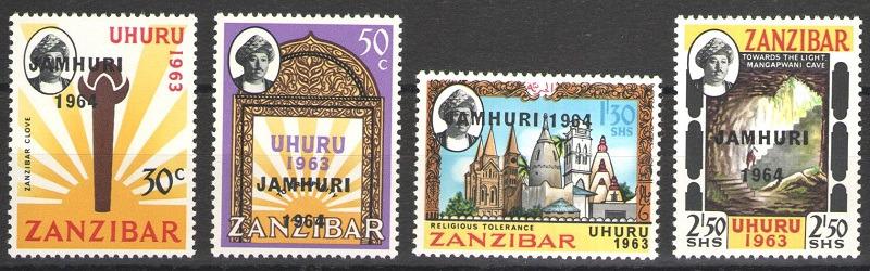 Серия марок. Занзибар. Независимость Занзибара. 1964 годзанзибар277-280Серия марок