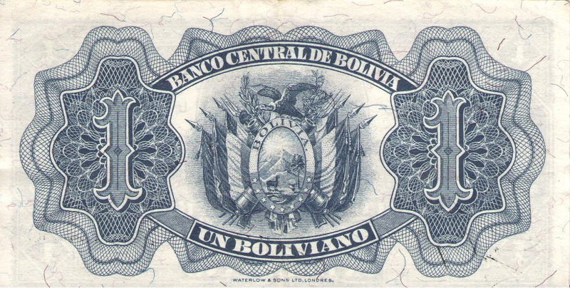 Банкнота номиналом 1 боливиано. Боливия. 1928 год