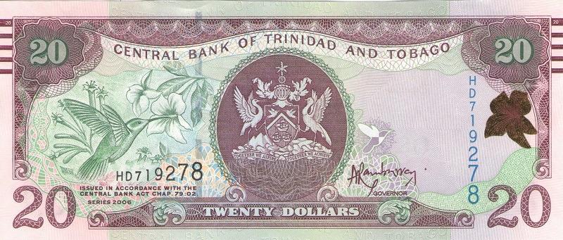 Банкнота номиналом 20 долларов. Тринидад и Тобаго. 2006 год банкнота номиналом 500 долларов зимбабве 2006 год