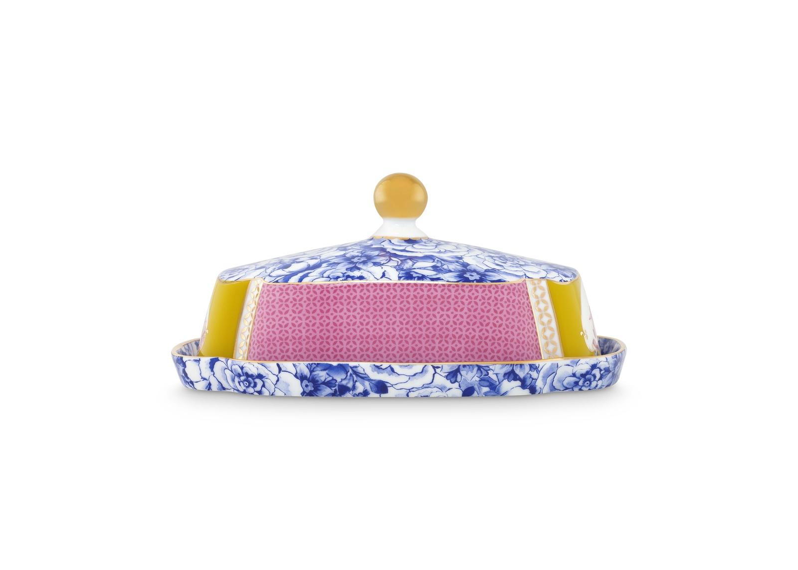 Масленка Pip Studio Royal, цвет: мультиколор51.018.069- Материал: фарфор. Цвет: мультиколор. Размер: длина 18,8, ширина 14,1, высота 9. Не использовать в микроволновой печи, не мыть в посудомоечной машине.