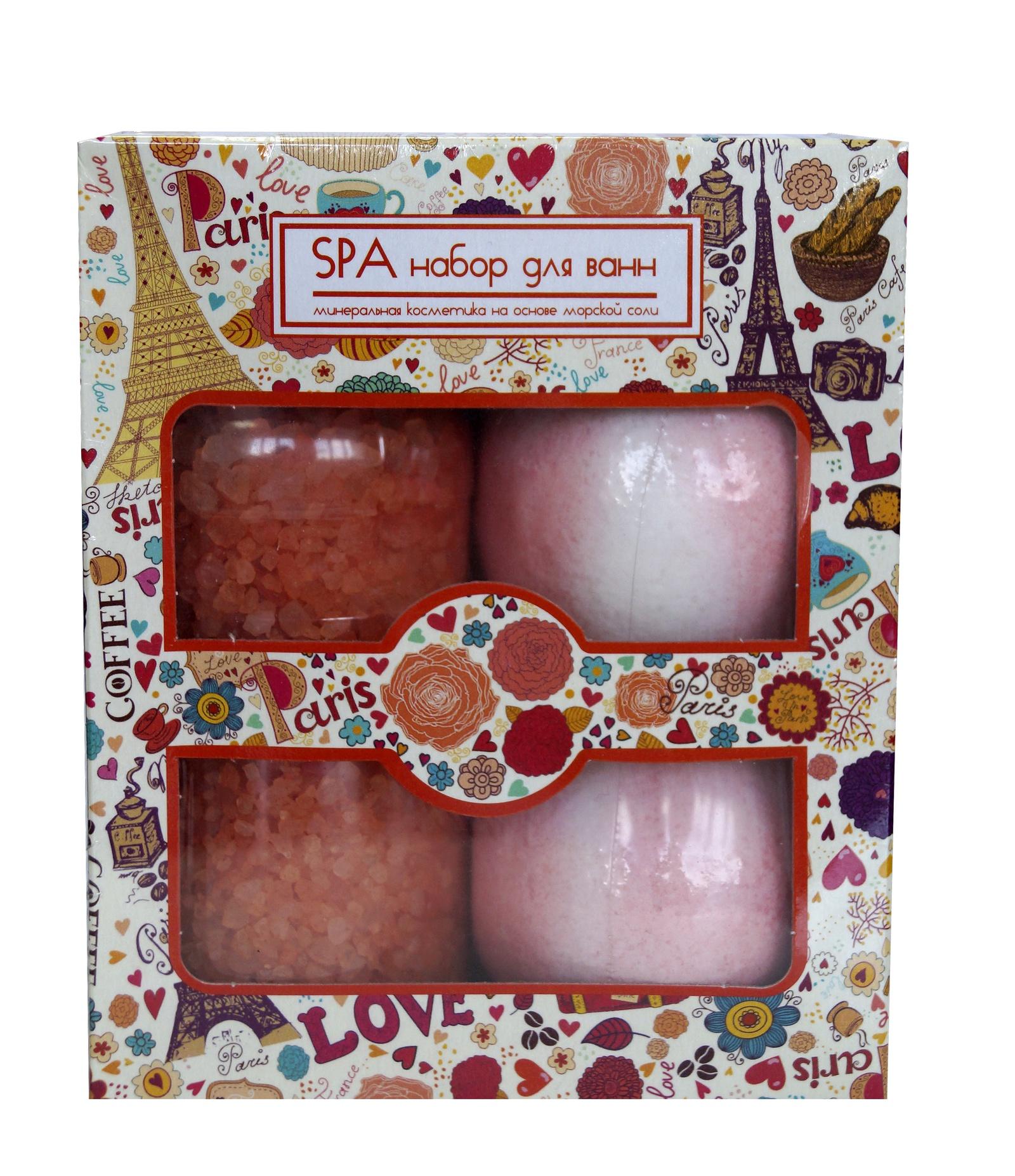 Соль морская Spa by Lara для ванн Роза 300 г + Соль шипучая для ванн Spa by Lara Роза 140г*2 + 580г соль mavala для смягчающих ножных ванн 300 г