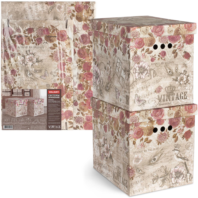 Коробка для хранения Valiant Vintage Flowers складная, цвет: коричнево-красный, 38 х 28 см, 2 шт коробка для хранения valiant travelling складная 25 х 33 х 18 5 см 2 шт