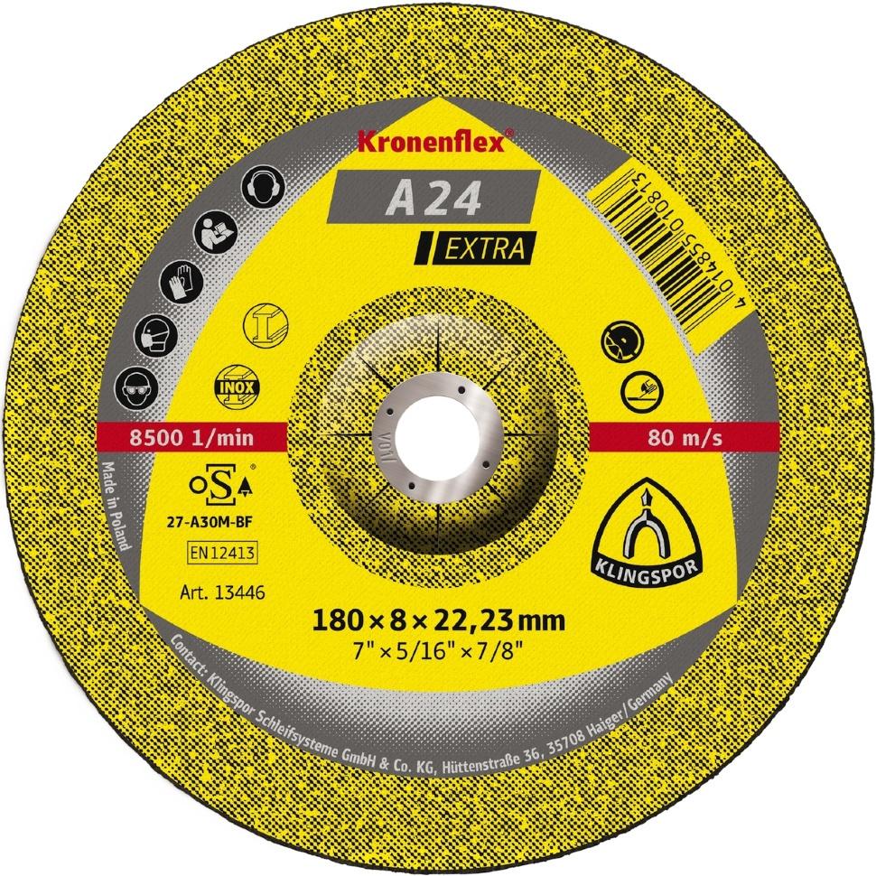 Круг отрезной Klingspor Kronenflex® A 24 Extra, Абразив круг отрезной луга абразив 180x2 5x32 с30 упак 25 шт