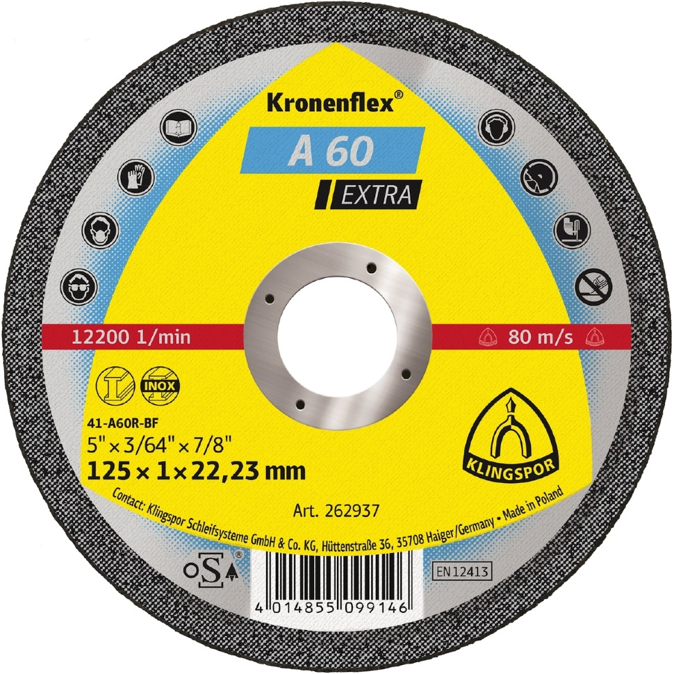 Круг отрезной Klingspor Kronenflex® Extra A 60 EX, Абразив