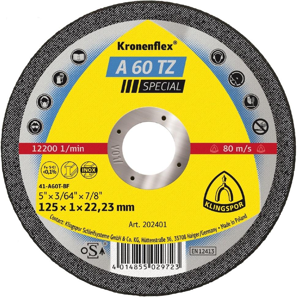 Отрезной круг Klingspor Kronenflex Special A 60 TZ прямой, 125 x 1 мм, 25 шт круг отрезной klingspor 230х2х22 kronenflex a 24 extra