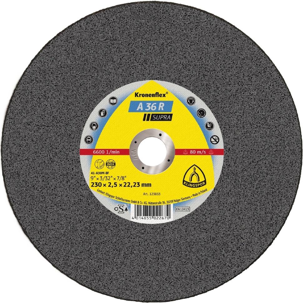Круг отрезной Klingspor Kronenflex® Supra A 36 R, Абразив круг отрезной луга абразив 180x2 5x32 с30 упак 25 шт