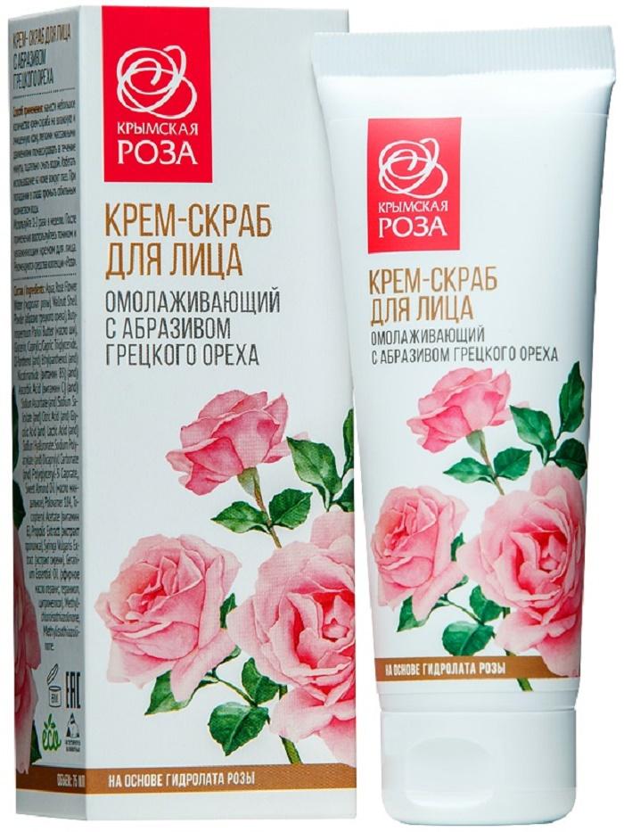 Крем для ухода за кожей Крымская роза Крем-скраб для лица с абразивом грецкого ореха, 75 мл Крымская роза