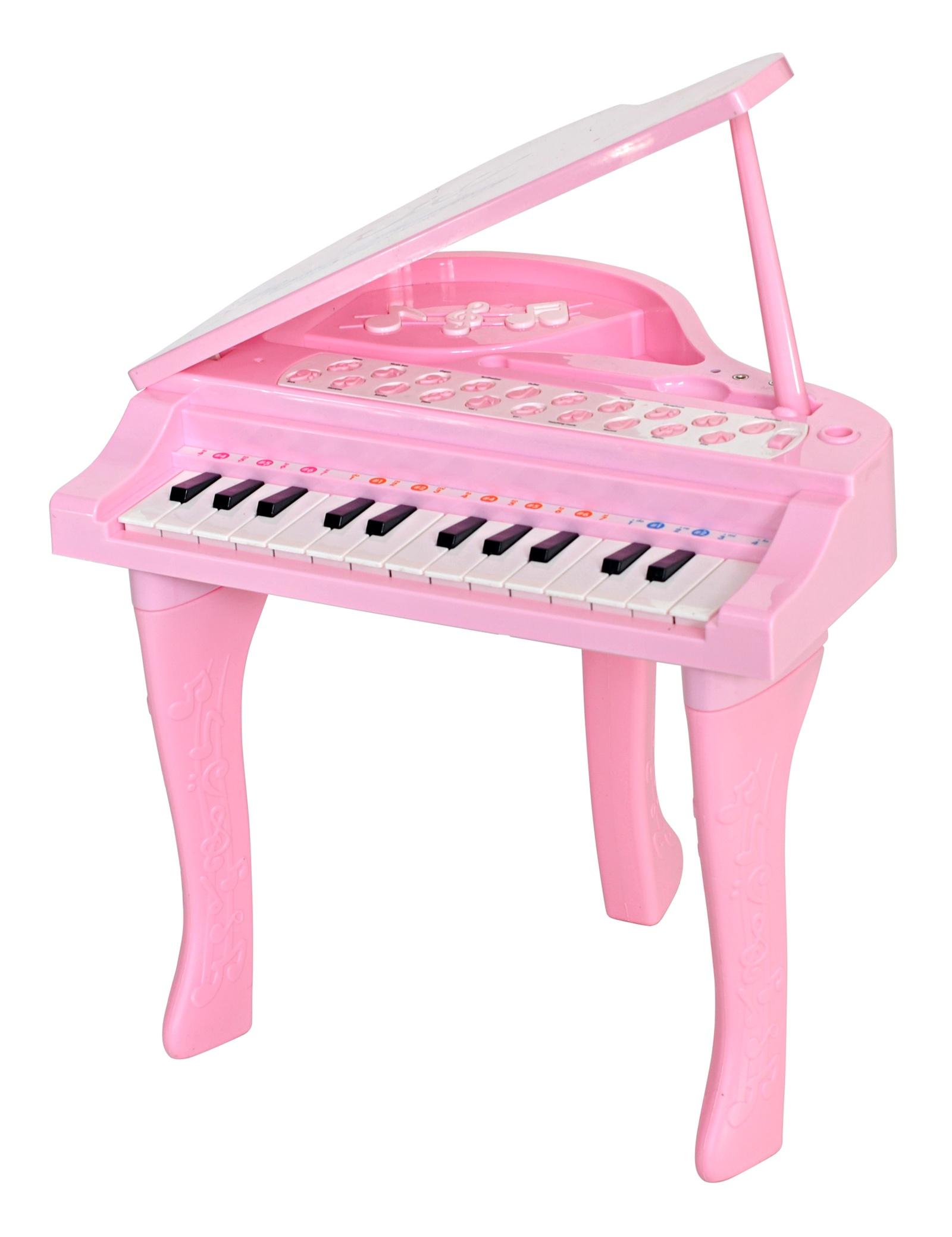 Детский музыкальный инструмент Everflo HS0356828ПП100004256Музыкальный детский центр Рояль привлечет внимание вашего малыша не только ярким цветом, но и множеством мелодий. Забавный музыкальный инструмент поможет вашему малышу развить творческие способности. Рояль с малых лет воспитывает любовь к музыке и тренирует музыкальный вкус. Каждой клавише на рояле соответствует определенный звук, и кроха сможет создавать собственные шедевры. Рояль имеет микрофон, подставку для микрофона, звуковые эффекты имитирующие работу настоящего синтезатора, имитация игры на разных музыкальных инструментах, функция записи и воспроизведения игры, поддерживает 7 звуков музыкальных инструментов, 4 ритма, регулировка громкости, 25 клавиш, работает от внешнего USB либо от 4 батареек АА (в комплект не входит), присутствует вход для подключения MP3 плеера Габариты 32*26*29, вес 1,4кг. Упаковка 52*34*8, вес 1,6кг. В упаковке 16 шт.)