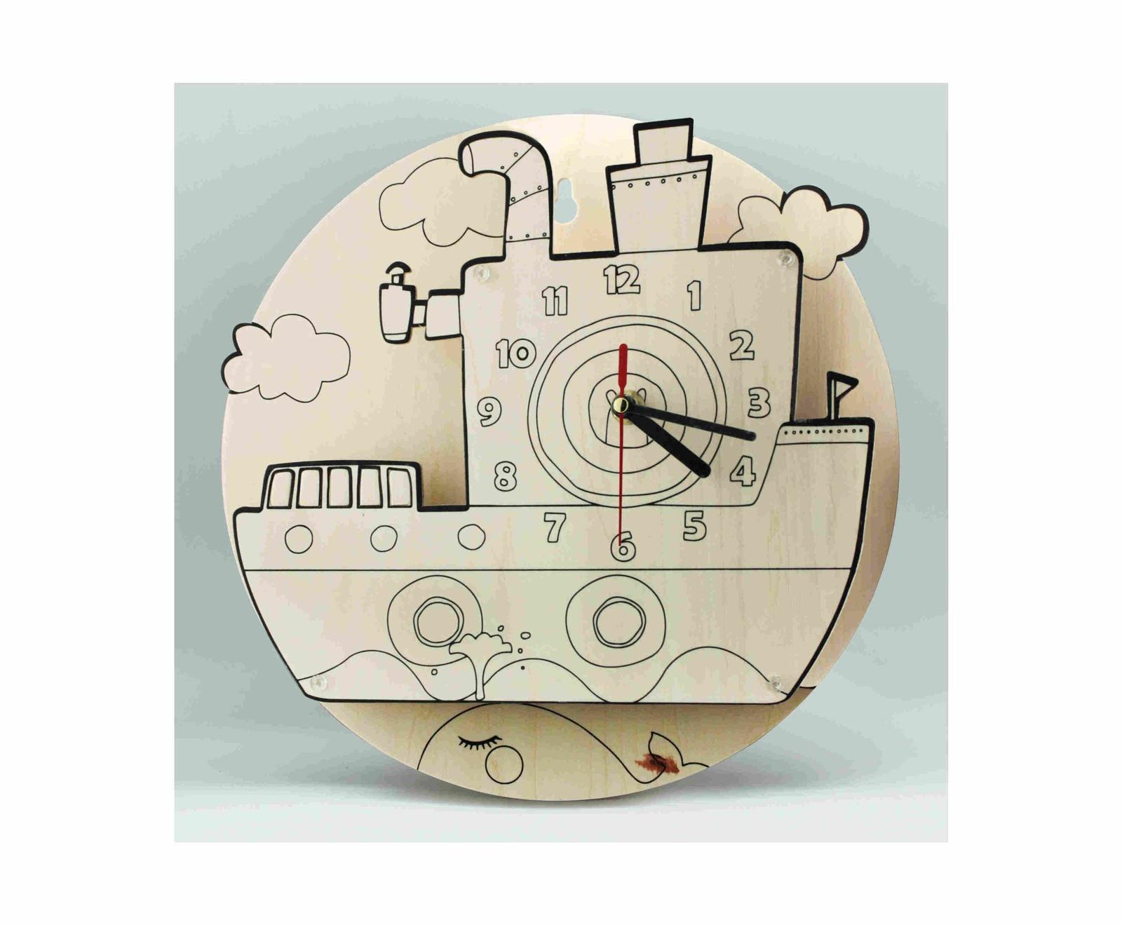 Часы-конструктор раскраска Robotime Яхта, деревянныеAC218PСобери и раскрась свои часы. Набор для творчества. 3D Часы-конструктор от компании Robotime — необычное украшение для детской комнаты, которое ребёнок может собрать и раскрасить самостоятельно. Это позволяет развивать технические и художественные навыки, а так же нарабатывать моторику. Перед началом работы нужно аккуратно вынуть все фанерные детали, а затем собрать их, следуя указаниям инструкции. Для подготовки составляющих частей вам не понадобятся дополнительные инструменты, а для их соединения не нужен клей. Все детали вдавлены в листы фанеры и очень легко извлекаются в процессе сборки. Готовые часы можно раскрасить красками, фломастерами или карандашами. Материал: изготовлено из высококачественной фанеры В комплекте: детали, вырезанные на листовом дереве часовой механизм краски, кисточка наждачная бумага, схема сборки, Сборка конструктора может стать прекрасным времяпрепровождением для всей семьи!