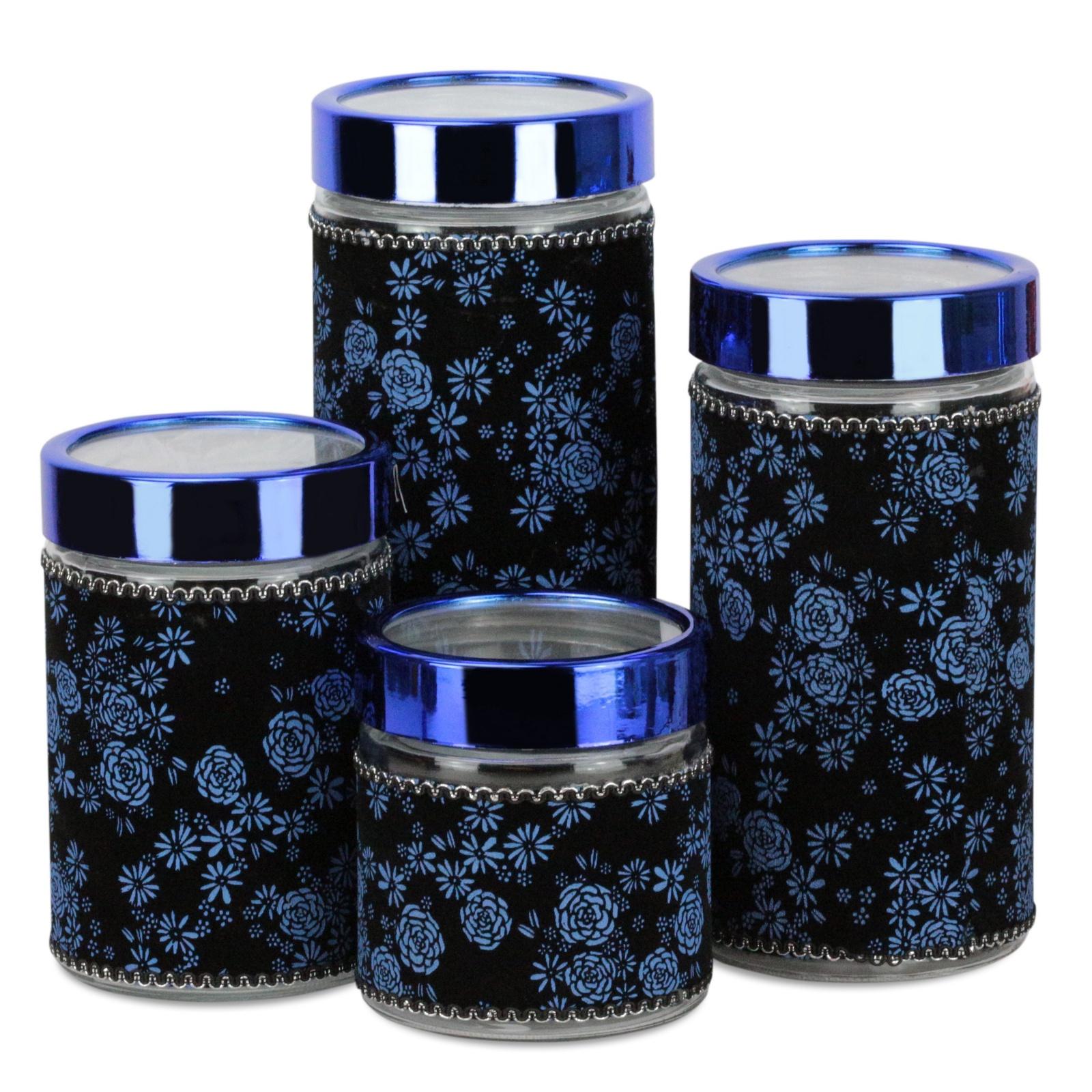 Набор банок для сыпучих продуктов Kelli, 289B, синий, 4 шт набор банок для сыпучих продуктов прованс из 4 х шт 1145180