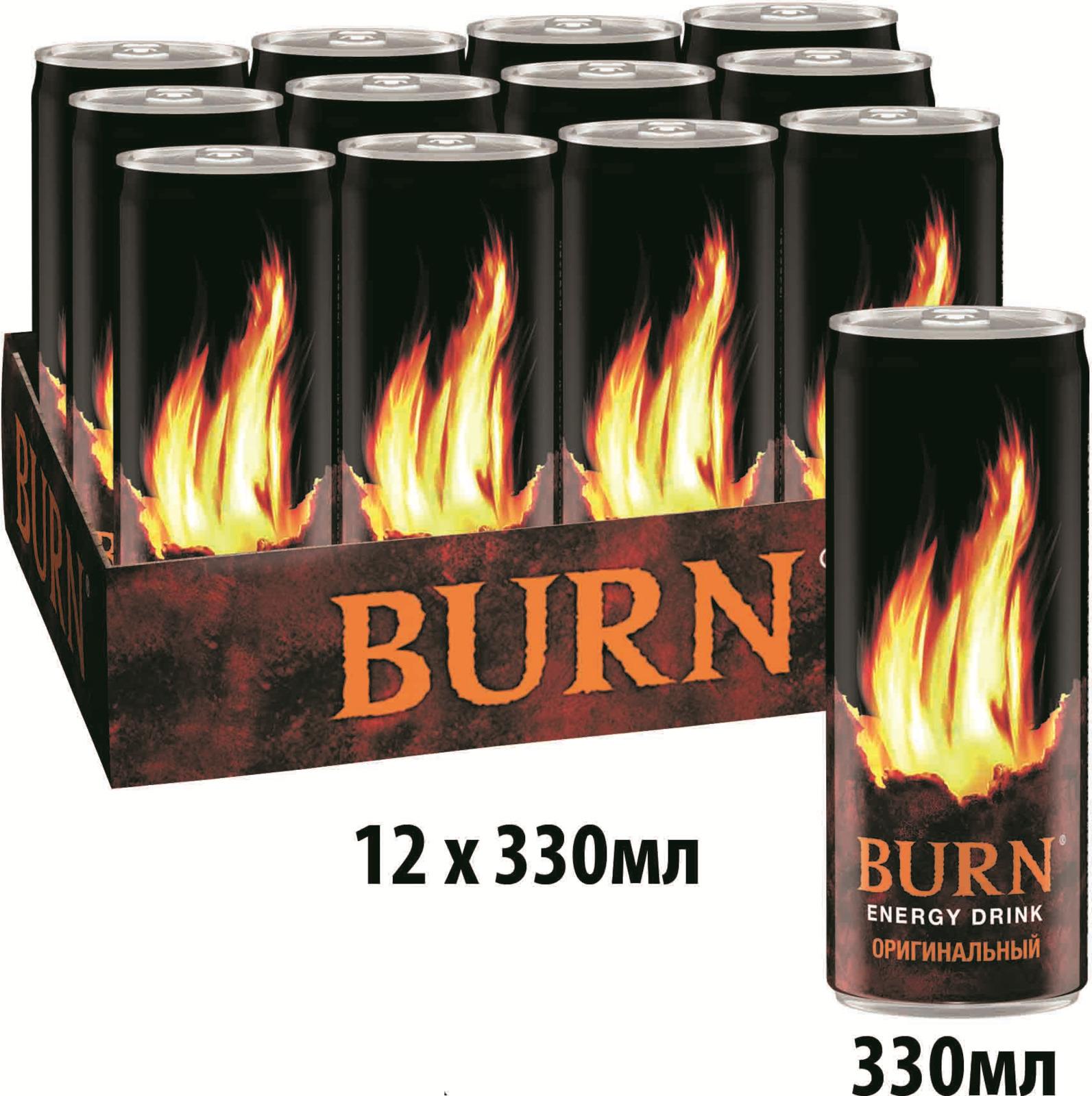 Burn Original энергетический напиток, 12 штук по 0.33 л