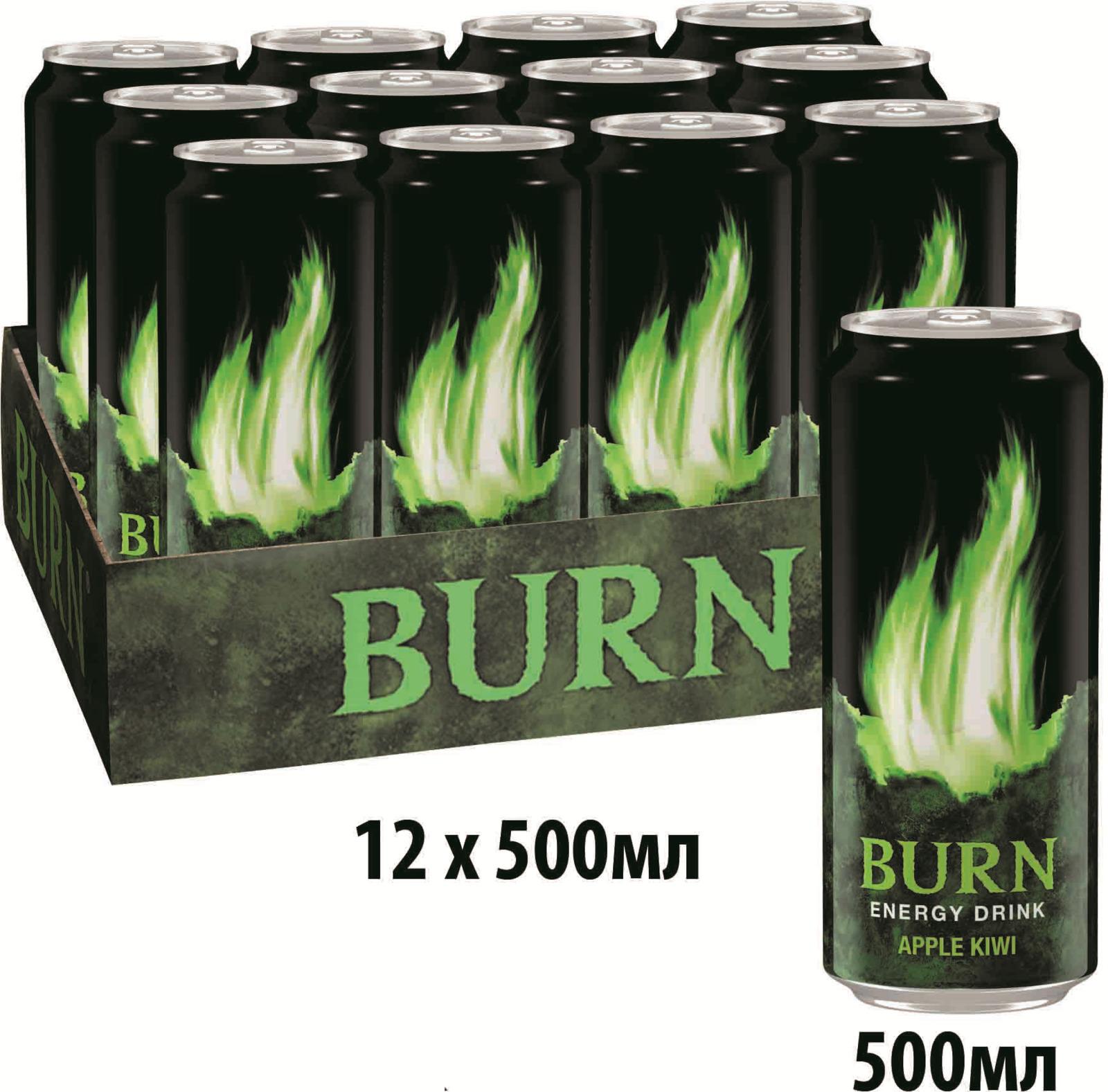 Burn Apple Kiwi энергетический напиток, 12 штук по 0.5 л