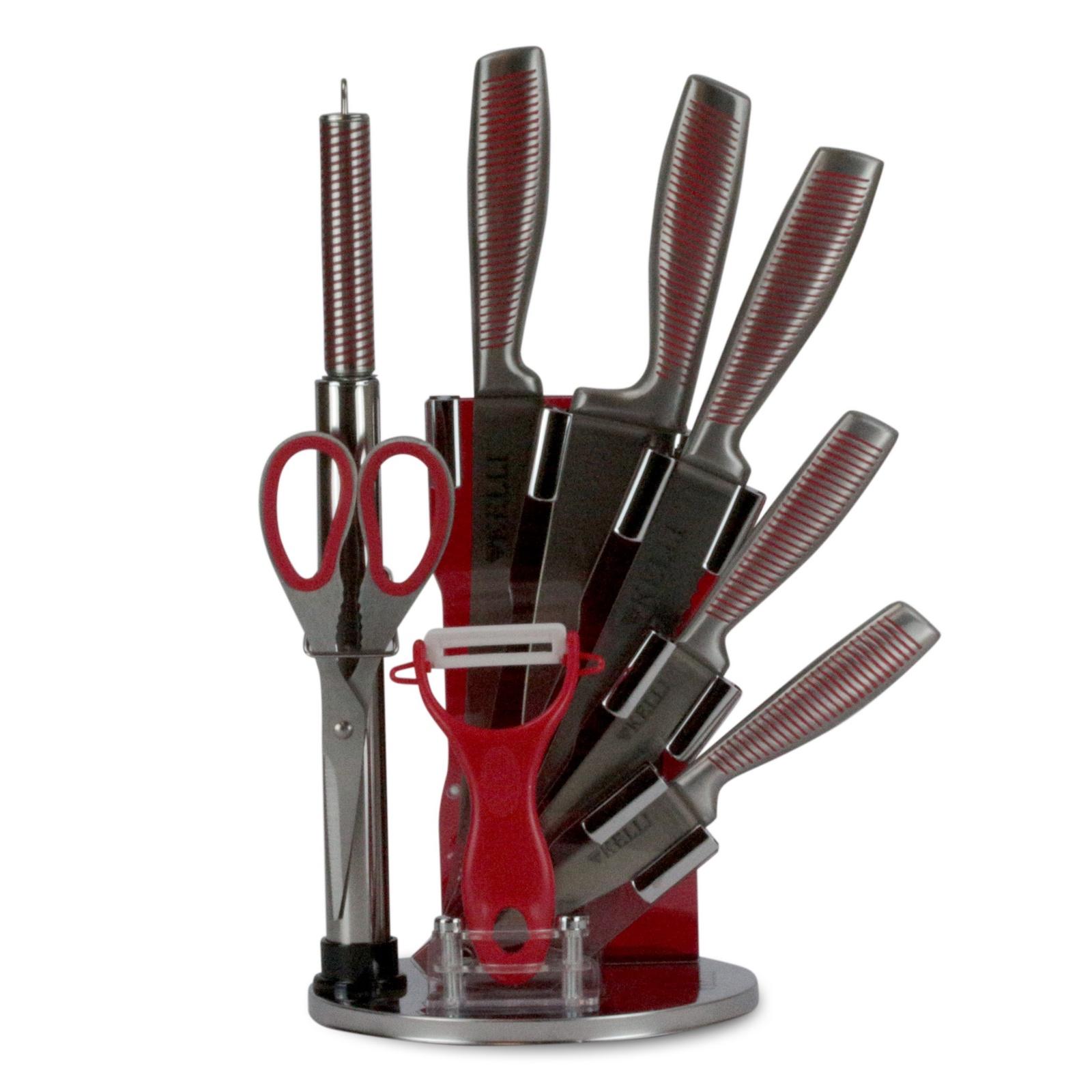 Набор кухонных ножей из нержавеющий стали на подставке овощной топорик suncraft mu 08