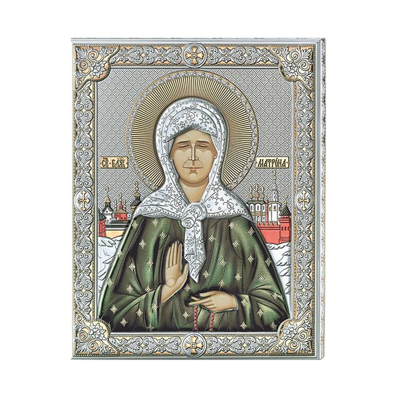 Икона АргентА Святая Матрона Московская, цвет: золотистый, серебристый, 12х15.5 см. 85303 3LCOL иконы