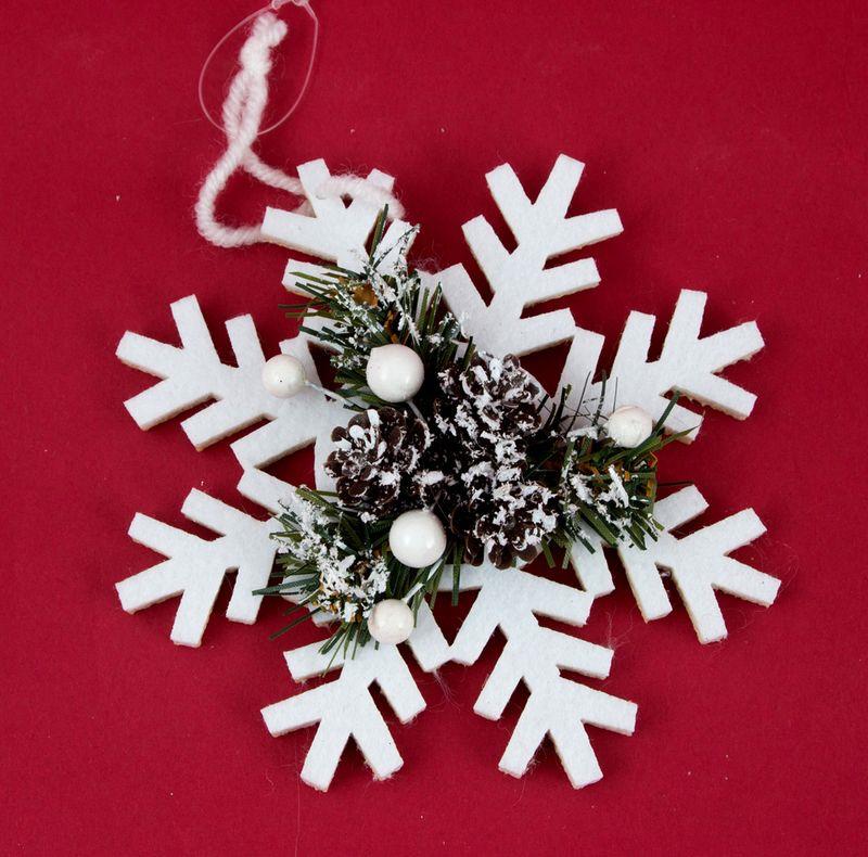 Подвесное украшение Русские Подарки Снежинка, 12 см украшение декоративное снежинка светящаяся на присоске led 10 см пластик