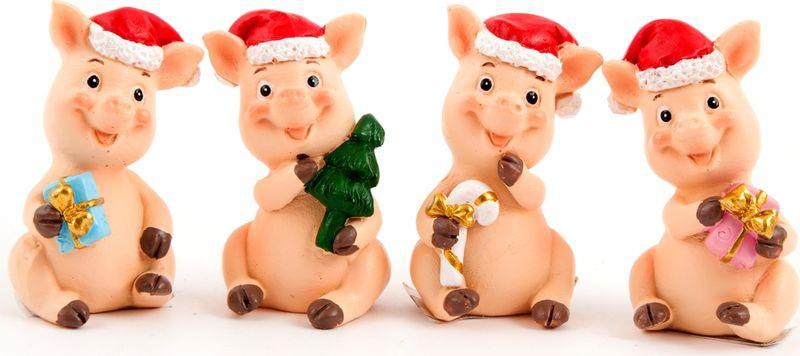 Фигурка праздничная Русские Подарки Счастливая хрюшка, 3 х 3 х 5 см набор ёлочных игрушек русские подарки мишка 5 х 3 см 4 шт
